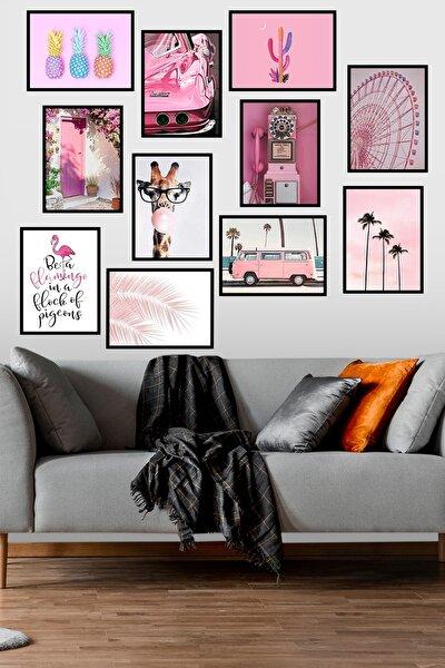 11 Parça Modern Stil Pembe Mdf Duvar Tablosu