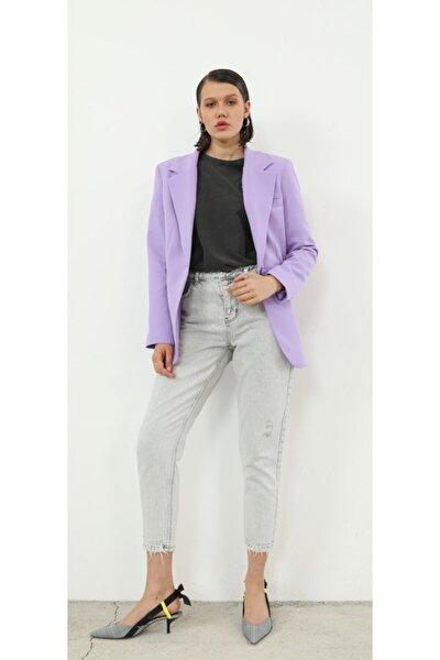 Lila Retro Boyfriend Oversized Blazer Ceket