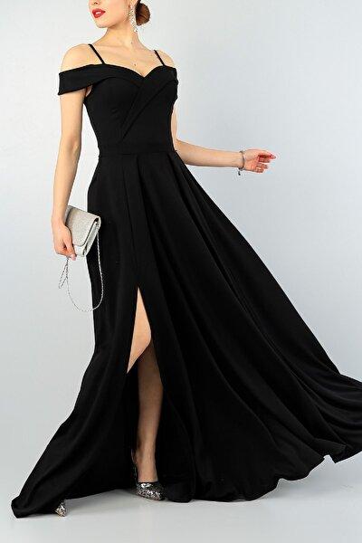 Kadın Siyah Askılı Kruvaze Yaka Pileli Yırtmaç Detaylı Abiye Mezuniyet Elbisesi