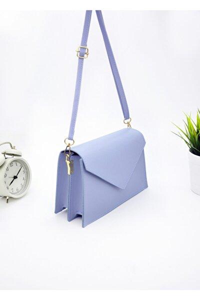 Kadın Mavi Üçgen Kapaklı Çanta