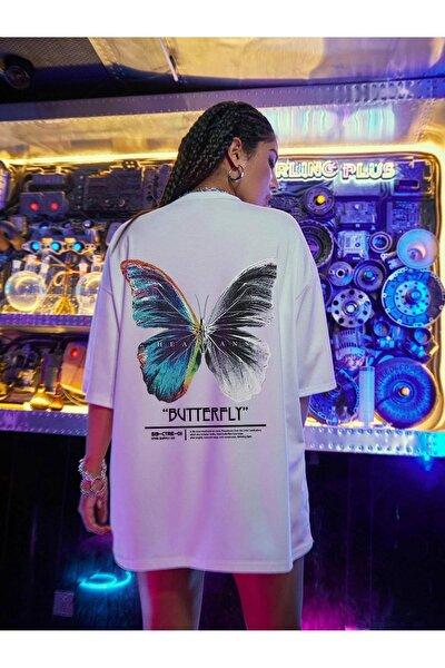 Kadın Beyaz Butterfly Oversize T-shirt