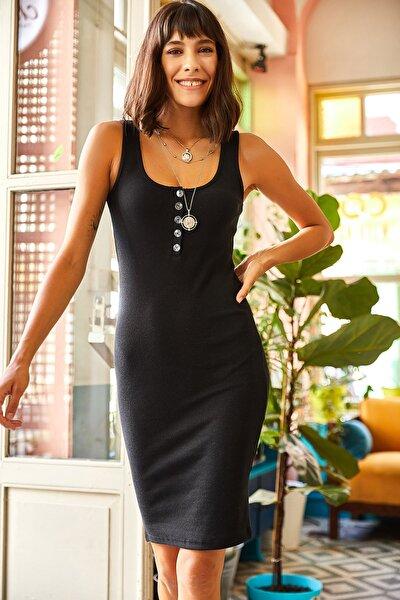 Kadın Siyah Düğmeli Kaşkorse Elbise ELB-19001542