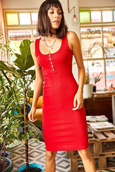 Kadın Kırmızı Düğmeli Kaşkorse Elbise ELB-19001542