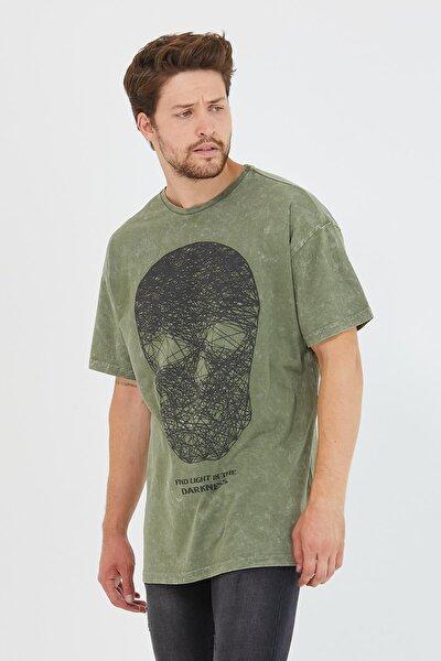 Erkek Parça Boya Baskılı Oversize Basic T-shirt Haki