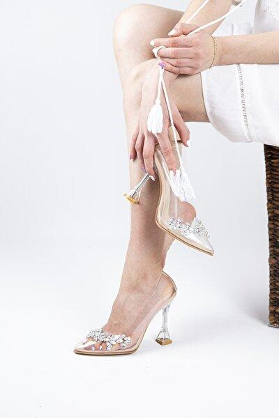 Kadın Taşlı Ten Şeffaf Topuklu Ayakkabı