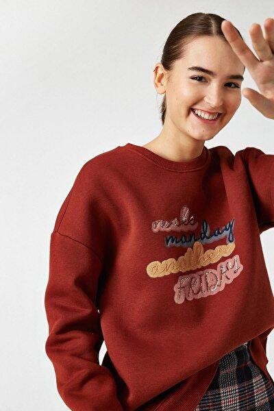 Kadın Kırmızı Bisiklet Yaka Pullu Sweatshirt Tyc00052151211