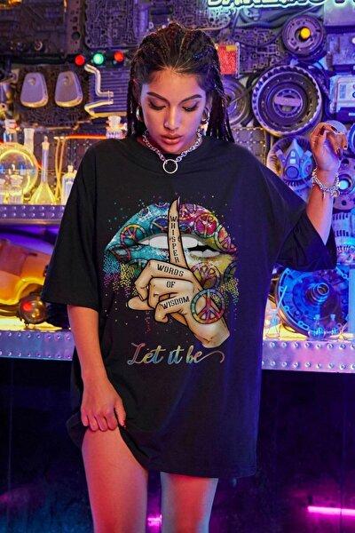 Kadın Siyah Let It Be Oversize T-shirt