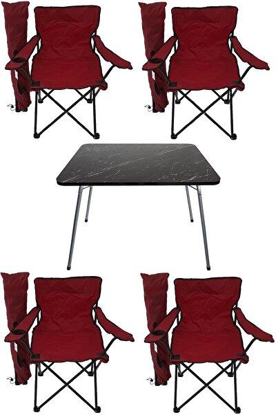 Kırmızı  Granit Katlanır Masa 4 Adet Kamp Sandalyesi Katlanır Sandalye Piknik Plaj Sandalyesi 60x80