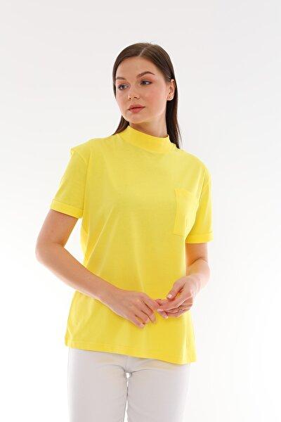 Sarı %100 Pamuk Dik Yaka Basic T-shirt