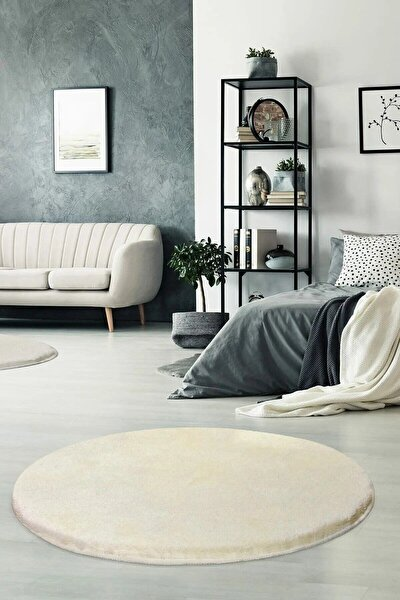 Yuvarlak Düz Renk Peluş Pofuduk Kaydırmaz Jel Taban Beyaz Renk 100x100