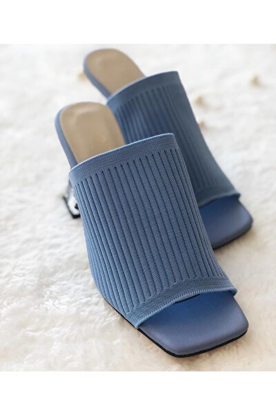 Mavi Renk Cam Topuklu Terlik