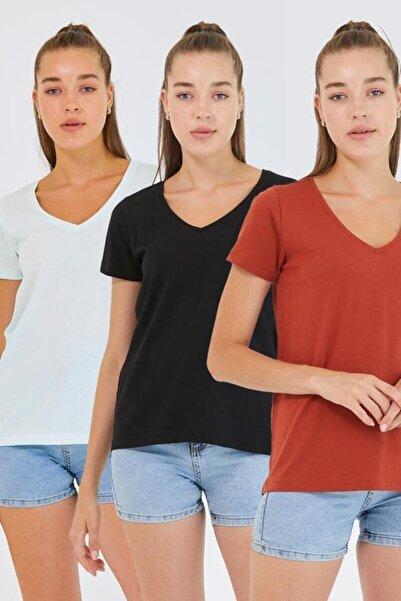 Kadın %100 Pamuk V Yaka 3lü T-shirt Paketi Su Yeşili