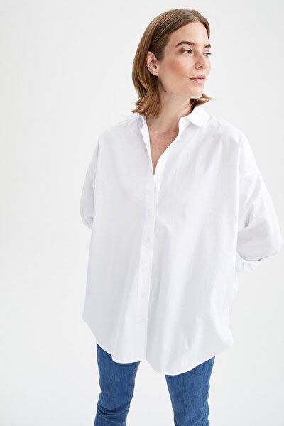 Basic Oversize Fit Pamuklu Poplin Gömlek