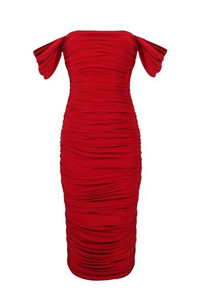 Düşük Kol Degajeli Drapeli Midi Kırmızı Elbise