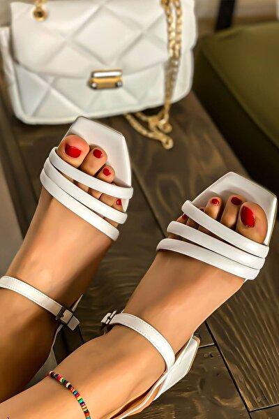 Kadın Beyaz Biyeli Klasik Topuklu Ayakkabı