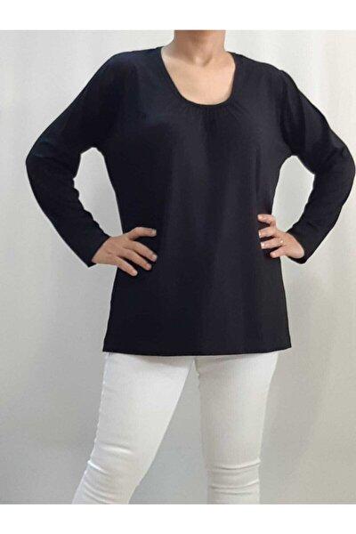 Yakası Büzgülü Uzun Kollu Siyah T-Shirt