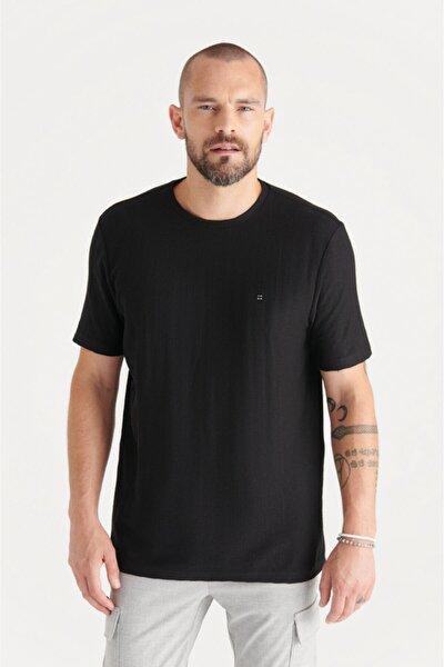 Erkek Siyah Bisiklet Yaka Jakarlı Slim Fit T-shirt A11y1203