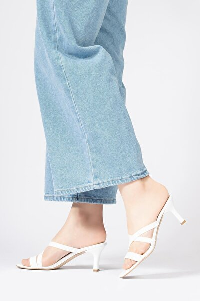 Hakiki Deri Kadın Terlik Çok Bantlı Dikdörtgen Topuklu Sandalet