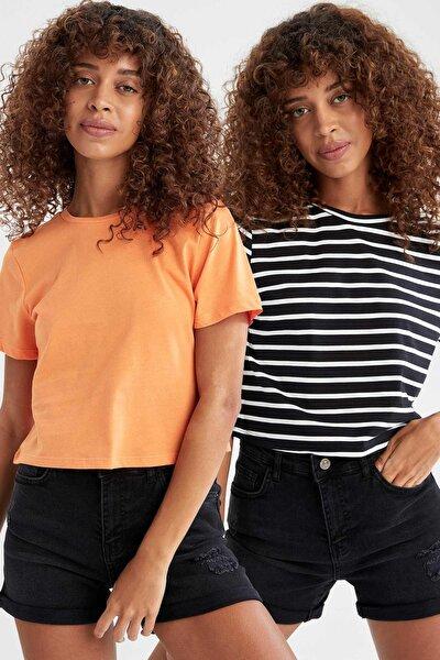 Çizgili Ve Basic Relax Fit 2'li Tişört
