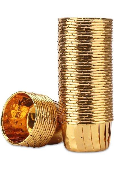 25'li Gold Kağıt Muffin Kek Ve Sufle Kapsülü Metalik Altın Sarısı