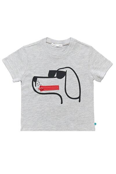 Erkek Çocuk Gri Fermuarlı T-Shirt