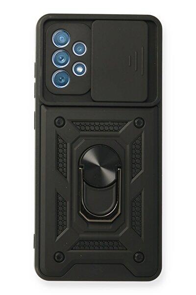 Galaxy A72 Uyumlu Pars Lens Yüzüklü Silikon Dnz - Siyah