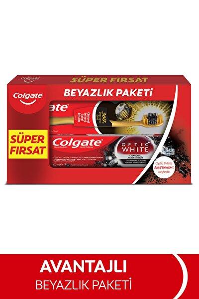 Optic White Aktif Kömür Beyazlatıcı Diş Macunu 50 ml + Colgate 360 Gold Yumuşak Diş Fırçası