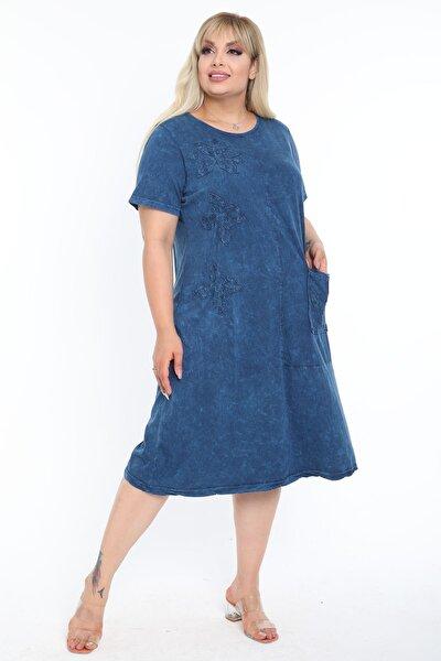 Kadın Yıkamalı Indigo Mavi Aplikeli Büyük Beden Elbise