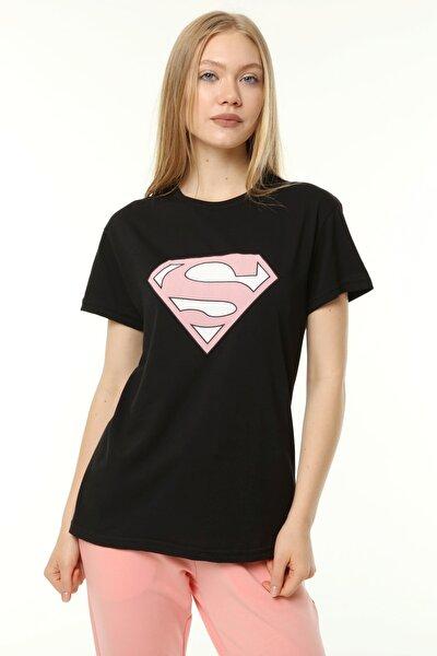 Süper S Baskılı Loose Kalıp Siyah T-shirt