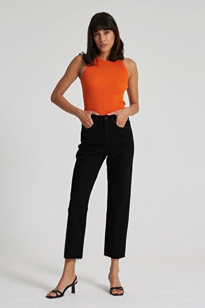 Elıza Cropped Siyah Paçası Kesikli Straight Cropped Fit Jean Pantolon