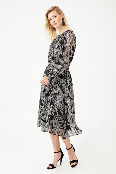 Sıfır Yaka Desenli Şifon Elbise