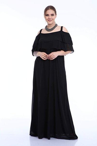 Büyük Beden Askılı Siyah Şifon Abiye Elbise 8009