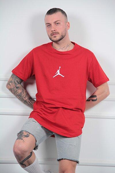 Kırmızı Spor Basketbol Baskılı Erkek Tişört T-shirt