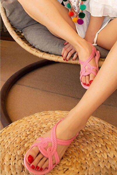 Halat Desenli Kaymaz Taban Pembe Yazlık Deniz Kadın Sandalet Terlik