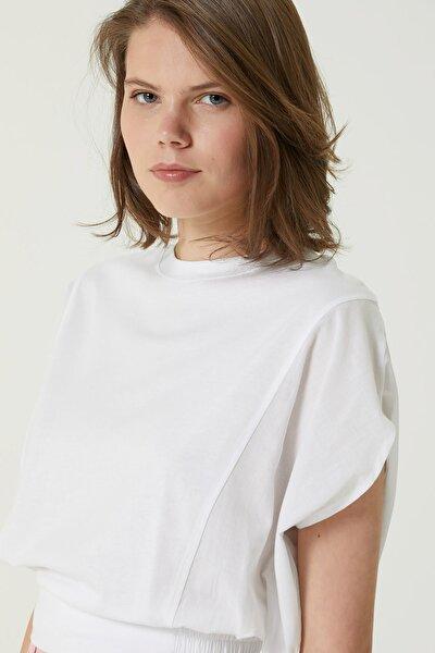 Kadın Slim Fit Beyaz Kol Detaylı T-shirt 1078504