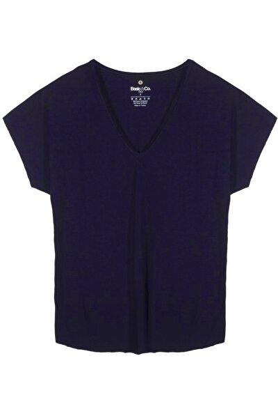 Vogue V Yaka Lacivert Basic Viskon T-shirt