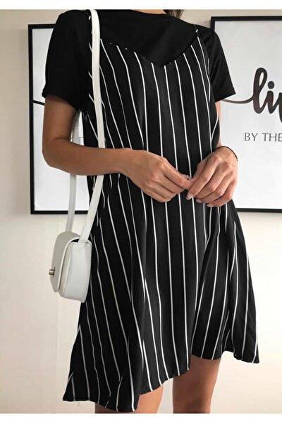 Yeni Model Kadın Çizgili Elbise Tshırt Ikili Set