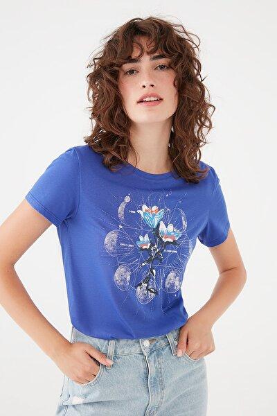 Kadın Baskılı Mavi Tişört 1601043-35315