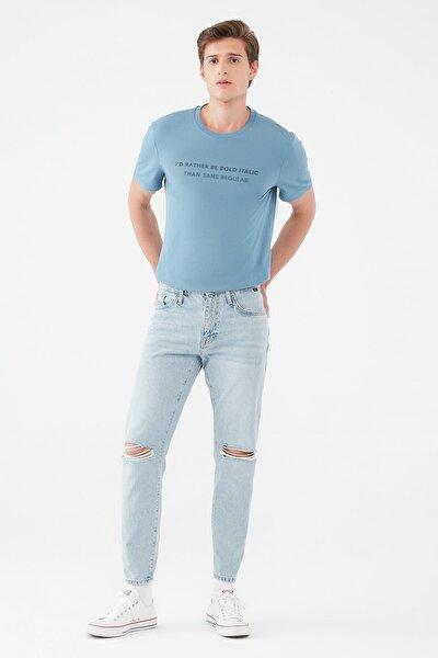 Erkek Milan Orta Mavi Yırtıklı Jean Pantolon 0081035483
