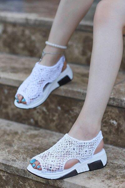 Kadın Örgü Triko Sandalet Yüksek Taban Spor Ayakkabı