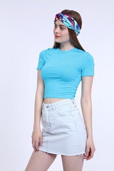 Kadın Turkuaz Bisiklet Yaka Basic Crop T-shirt