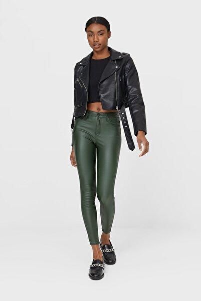 Kadın Zümrüt Yeşili Kaplamalı Yüksek Bel Pantolon 04509721