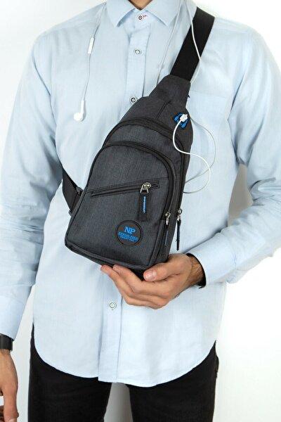 Unisex Siyah Keten Kulaklık Çıkışlı Çapraz Askılı Bel Omuz Çanta Göğüs Bodybag