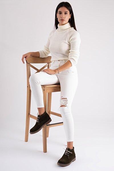 Hakiki Deri Kadın Bağcıklı Bot Ped Destekli Kışlık Chukka Bot