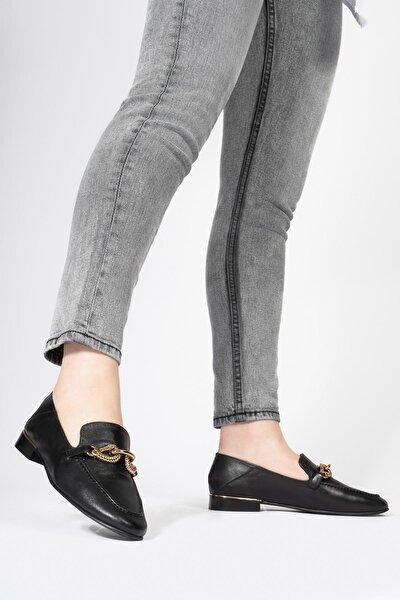 Kadın Hakiki Deri Loafer Casual Günlük Metal Tokalı Ayakkabı