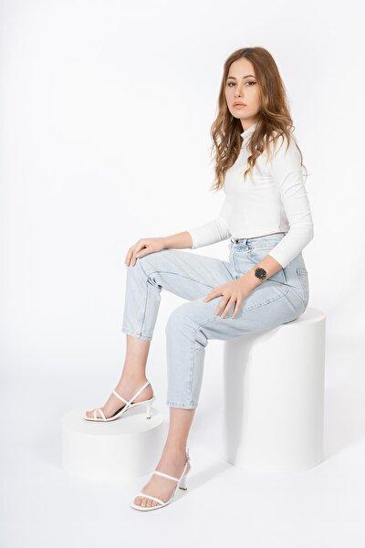Hakiki Deri Kadın Topuklu Sandalet Bantlı Kemerli