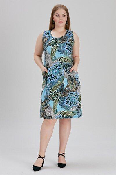 Kadın Büyük Beden Çiçekli Ve Yaprak Desenli Elbise Mavi
