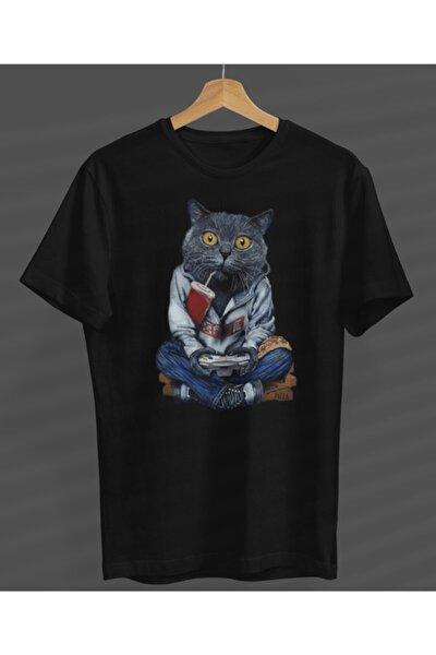Unisex Game Play Kedi Özel Tasarım Siyah Yuvarlak Yaka T-shirt