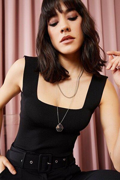 Kadın Giyim Kalın Askılı Kare Yaka Crop Siyah