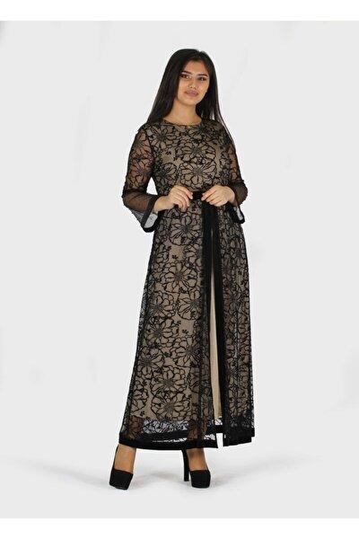 Flok Baskılı Kadife Detaylı Büyük Beden Elbise 1679c-bej